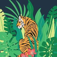 handritad tiger med exotiska tropiska blad vektor