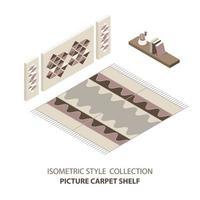 isometrischer Satz Teppichraum im Stil der Mitte des Jahrhunderts