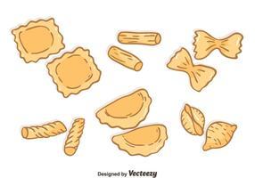 Handdragen pasta samling vektor