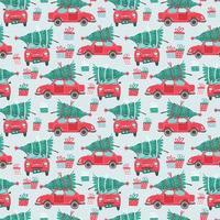 sömlösa mönster med röda bilar och julgranar vektor
