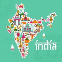 traditionelle Symbole in Form einer Karte von Indien vektor