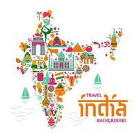 traditionella symboler, i form av en karta över Indien vektor