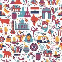 traditionella symboler för Indien sömlösa mönster vektor