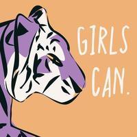 Hand gezeichneter Tiger mit feministischer Phrase