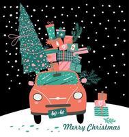 rosa bil, julklappar och träd vektor