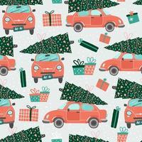 nahtloses Muster mit roten Autos und Weihnachtsbäumen vektor