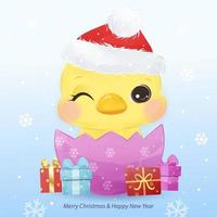 Weihnachtsgrußkarte mit entzückendem kleinen Küken vektor