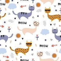 roliga katter sömlösa mönster. vektor