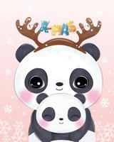 Weihnachtsillustration mit niedlicher Mama und Babypanda vektor