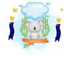 niedlicher Koala auf Zweig, der von Wolke hängt