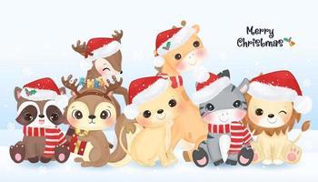 Weihnachtsgrußkarte mit niedlichen Tieren