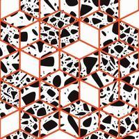 terrazzo sömlös mönster design med handritade stenar vektor