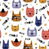 barnslig teckning av söta katter möter sömlösa mönster. vektor