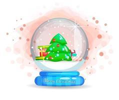 Geschenke und Weihnachtsbaum in Glasglocke