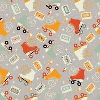 sömlösa mönster med rullskridskor och kassettband
