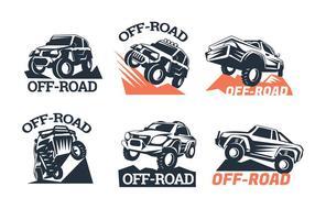 Set von sechs Off-Road Suv Logos auf weißem Hintergrund vektor