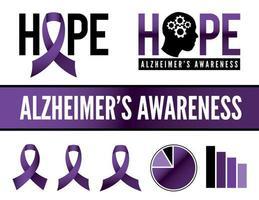 Alzheimers sjukdom medvetenhet ikoner och grafik vektor