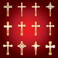 uppsättning gyllene kors vektor