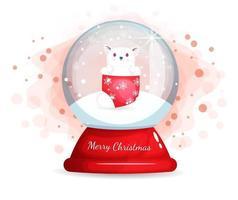 süße Katze in Strumpf in Glasglocke für Weihnachten