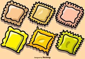 Vektor handdragen pasta Ravioli ikoner