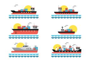 Flat Shipyard Vektor mit Container