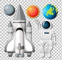 Satz Raumelemente mit Astronuat auf transparentem Hintergrund vektor