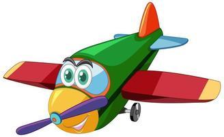 Flugzeug-Zeichentrickfigur mit großen Augen isoliert
