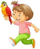glad tjej som håller papegojan