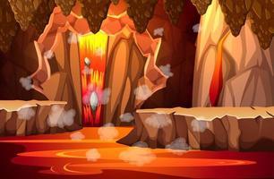 infernal mörk grotta med lavascen