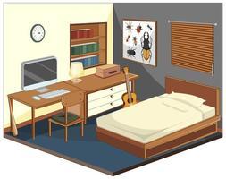 sovrum med möbler isometrisk