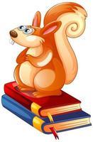 ein Eichhörnchen, das auf Büchern auf weißem Hintergrund sitzt