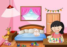 Schlafzimmer des Mädchens im rosa Farbthema mit einem Mädchen
