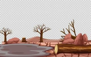 Dürre Landschaft transparenter Hintergrund vektor