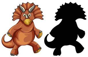 Satz Dinosaurier-Zeichentrickfigur und seine Silhouette auf weißem Hintergrund