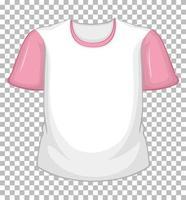 leeres weißes T-Shirt mit rosa kurzen Ärmeln auf transparentem