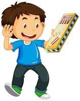 pojke håller pennfodral vektor