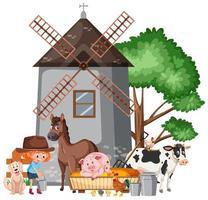 Szene mit Bauernmädchen, das viele Tiere auf dem Bauernhof füttert vektor