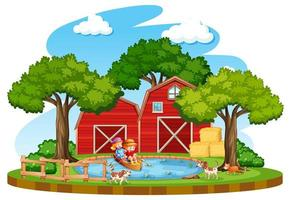 gård med röd ladugård och väderkvarn på vit bakgrund