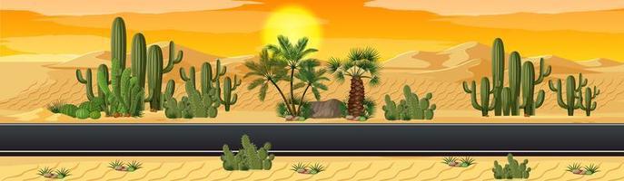 öken med väg natur landskap scen vektor