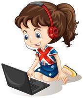 en flicka med bärbar dator på vit bakgrund