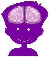Gehirnzeichen im Kopfjungen im Weltalzheimer-Tagesthema lokalisiert auf weißem Hintergrund vektor