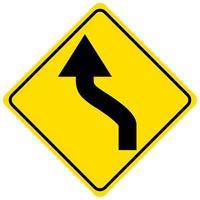 varning för ett gult skylt med dubbel kurva på vit bakgrund