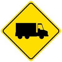 gul lastbil tecken isolerad på vit bakgrund