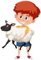 Junge, der niedlichen Tierkarikaturcharakter lokalisiert auf weißem Hintergrund hält