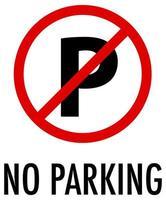 inget parkeringsskylt på vit bakgrund