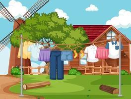 Kleidung trocknen und hängen im Freien Hintergrund vektor
