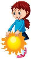 süßes Mädchen hält Sonne isoliert vektor