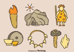 Hand Drawn Cave Man Element Vector
