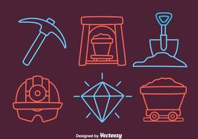 Grotta gruva element ikoner vektor