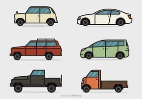 Platt linje bilar vektor uppsättning